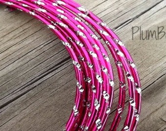 Aluminum wire for jewelry and crafts, 2mm round diamond cut hot pink and silver color