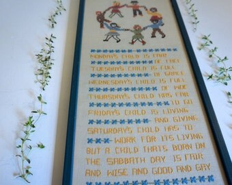 Handmade Cross-stitch Children Days of the Week - Vintage Cross-Stitch in Wooden Frame with Glass Front