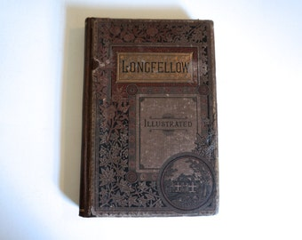 The Poetical Works of Longfellow Illustrated 1882 Brown Clothbound Cover Henry Wadsworth Longfellow - Floyd Jones Vintage