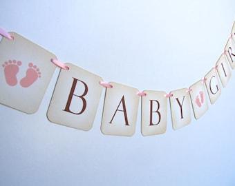 Baby Girl Footprints Feet Bunting, Footprints Banner, Footprints Baby Girl Shower Decoration, Baby Feet Garland, Photo Prop, 007-P