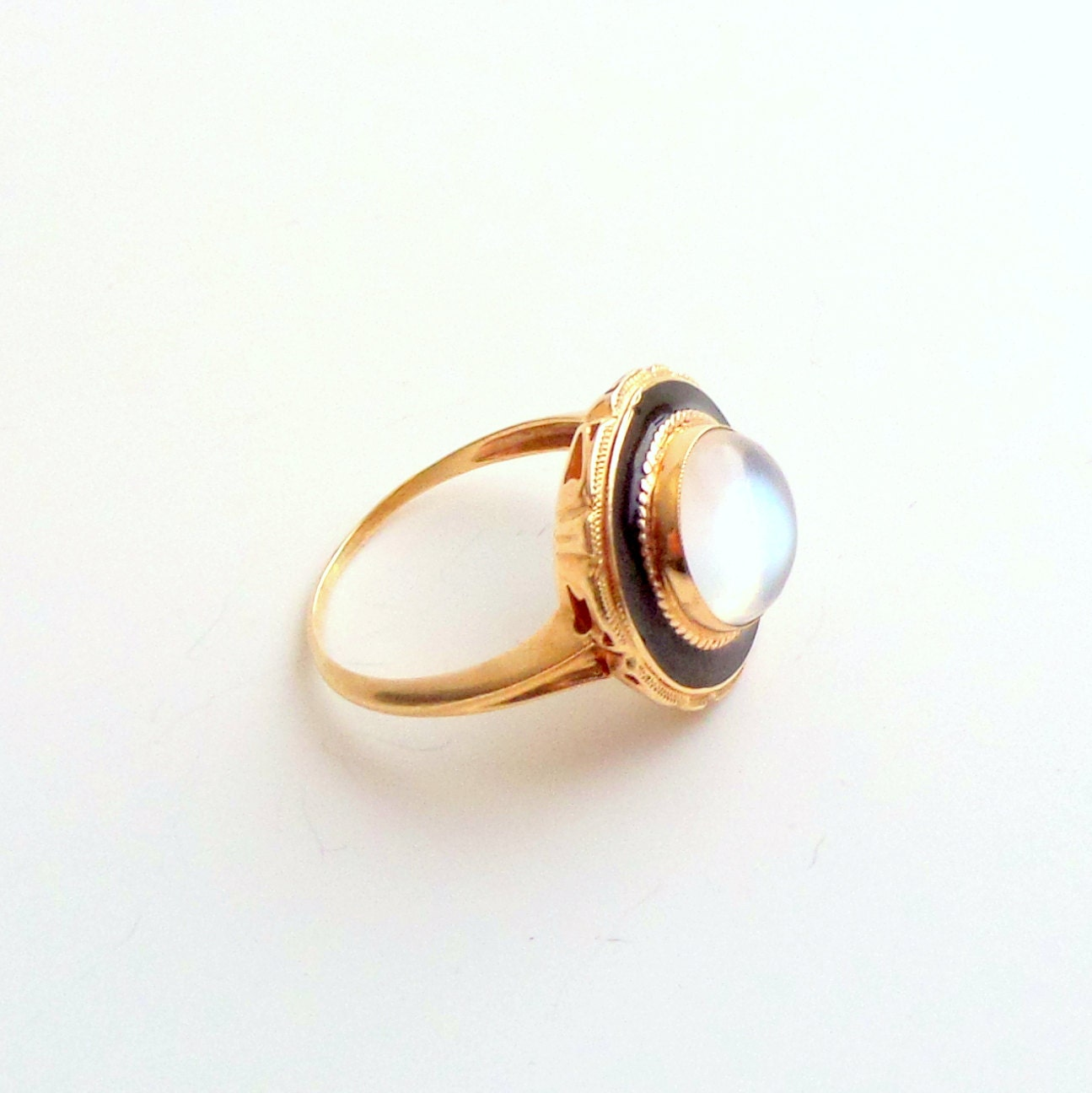 Antique Art Deco Moonstone Ring Enameled Gold