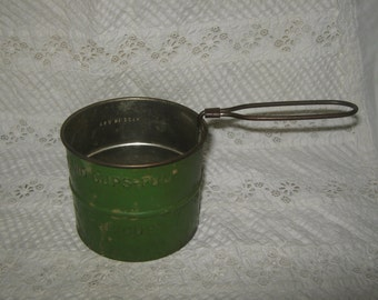Green Tin Two Cup Flour Sifter