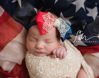 Vintage American Scarf US Flag and Headband Set. Red Blue White Ribbon Lace Bow Baby Newborn Headband. Photography Prop.Patriotic Military