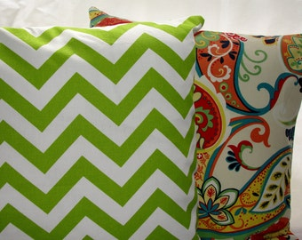 Designer Premier Prints Green Chevron Throw Pillow Cover Green and White