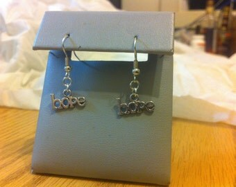 Hope word earrings