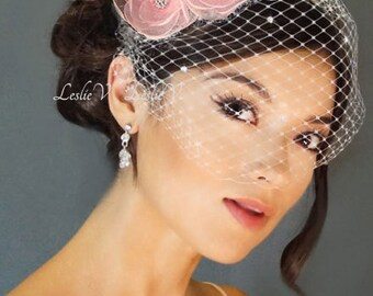 Leslie Li Carolina Style Crystal Bridal Birdcage Veil with 2 Pink Sheer Flowers 27-F19