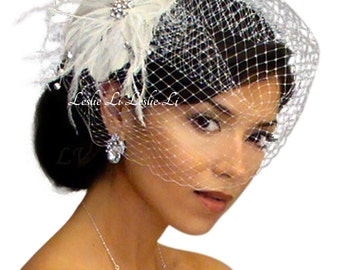 Leslie Li Cecila Style Feather Hair Clip with Bridal Birdcage Veil 21-F31