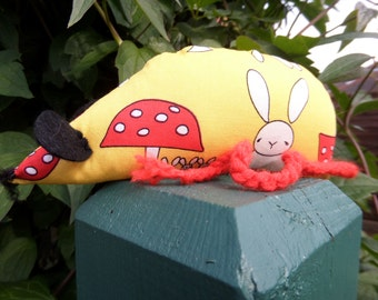 Hand Made Catnip Mouse - Yellow Rabbit and Toadstool design - Cat Toy