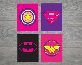 Girl Pink and Purple Super Hero / Superhero Wall Art, batman, superman captain america - 8x10- 6 printable files