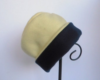 Yellow and Blue Fleece Hat, Roll Brim Hat, Yellow Hat, Navy Blue Hat, Soft and Warm Hat, Fleece Hat