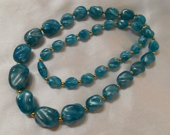 Turquoise Blue Plastic Beaded Necklace