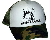 Kid's Youth TODDLER Happy Camper Camping  Mesh Trucker Hat Cap Camouflage Camo