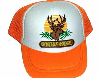 KID'S TODDLER Orange Young Buck Deer Snapback Mesh Trucker Hat Cap Yw.
