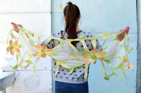 SALE!!!! Felt silk and wool shawl, Felted Scarf, Women's Shawl, summer scarf, Nuno felted scarf, floral scarf, Ready to ship