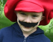 Super Mario Brothers-Child's Mario Hat & Felt Mustache - Dress Up - Dramatic Play