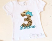 Safari birthday shirt. Little girl's birthday tshirt. Bday girl with safari hat, bow and name. Cheetah print number. Zoo Jungle animal.