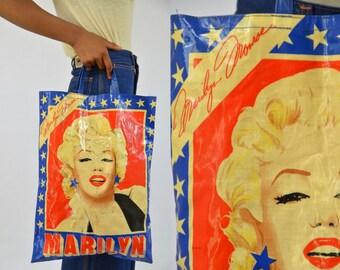 60s / 70s Marilyn Monroe Pop Art Red and White Shopper Tote Bag