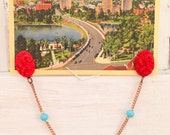 Sweater Chain or Collar Clip- Tomato Red Floral and Blue Bead- Vintage and New Findings