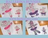Bunny Ballerina Full Set Machine Applique Embroidery Design - 4x4, 5x7 & 6x8