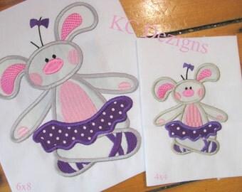 Bunny Ballerina 03 Machine Applique Embroidery Design - Bunny Ballerina Applique - Bunny Applique - Ballerina Applique - Applique Bunny