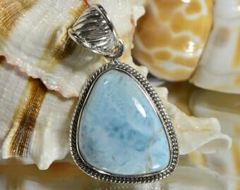 Larimar Pendant Sterling Silver Natural Gemstone Pendant Sterling Silver Jewelry