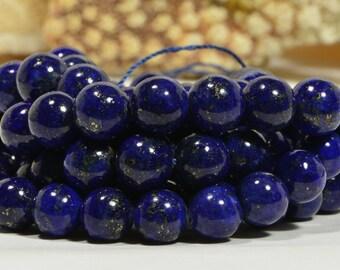 "Lapis 8mm 7 3/4"" inch Strand Natural Gemstone Beads Lapis Lazuli Jewelry Making Supplies"