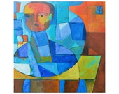 FISHBOWL, large 30x30 original painting, primitive portrait, impasto, abstract painting, by ELizabeth Rosen