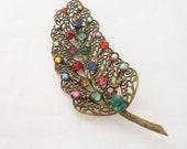 Vintage 1930s Brooch, Gold Tone Filigree Pin, Multicolored Vintage Brooch