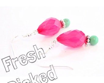 SALE Pink and Turquoise Earrings Watermelon Dangles Summer