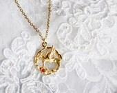 Vintage Hamming Bird Pendant, Gold Tone, Matching Necklace, HALF OFF Sale, Item No. B438