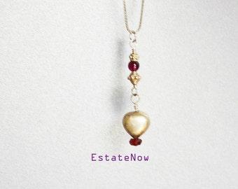 Beaded Heart Pendant, Silver, Delicate, Feminine Accessory, VALENTINES S A L E, Item No. S 013