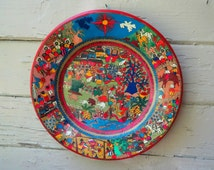 Vintage mexican plate south american colorful frida kahlo hand painted