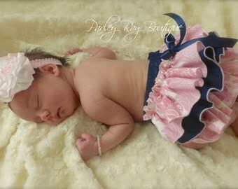 Beautiful Parley Ray Navy Blue with Pink Damask Ruffled Diaper Cover/ Baby Bloomers/ Photo Prop