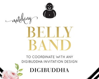 BELLY BAND Made to Match any digibuddha Invitation design Coordinating Printable Wrap Paper Band for Wedding Invitation Suites and Pieces