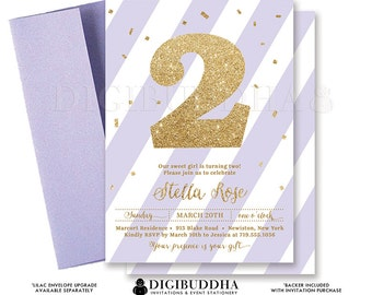 LILAC GOLD Glitter INVITATION Second Birthday Purple Confetti 2nd Party Printable Invite Baby Girl Turning Two Free Shipping or DiY- Stella