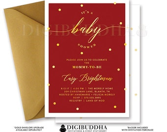 BABY SHOWER INVITATION Gender Neutral Elegant Red + Gold Dot Printable Baby Shower Invite Maroon Confetti Sparkle Free Shipping or DiY- Casy