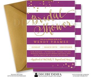 PURPLE & GOLD BRIDAL Shower Invitation Stripes Printable Invite Plum Gold Glitter Modern Wedding Free Priority Shipping or DiY- Wendy