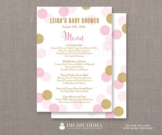 pink gold glitter dots menu baby shower party menu it 39 s a girl