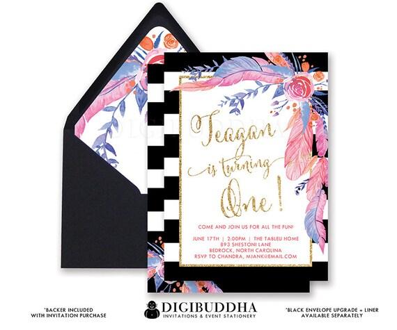 BOHO FEATHERS FLOWERS Birthday Invitation Black White Stripes - Black and white striped birthday invitations