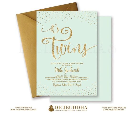 TWINS SHOWER INVITATION Baby Shower Invite Mint Gold Glitter