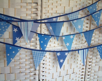 Fabric mini-bunting, banner. Blues, stars, stripes and spots. Sold by the metre. So cute!