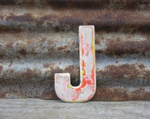 Letter Sign Vintage Metal Letter J Sign 7 1/2 Inch Distressed Chipping White Paint Marquee Sign Wall Art vtg Alphabet Letter Advertising Old