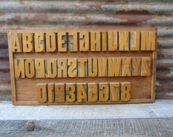 Large Letter Press Display Collection Complete Set Alphabet A-Z and Numbers 0-8 Wood Numbers Wood Letters Printing Press Printer Signs VTG