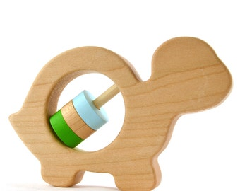 Personalized Turtle Baby Rattle - Choose Your Own Colors - Wood Baby Rattle