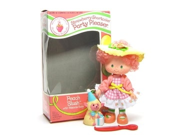 Peach Blush Doll Party Pleaser Vintage Strawberry Shortcake with Melonie Belle Lamb Pet & Original Box