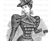 Victorian Lady Holding Wallet Instant Download PNG Clip Art Transfer Image