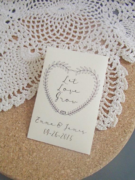 20 Custom Seed Packet Wedding Favor Let Love Grow