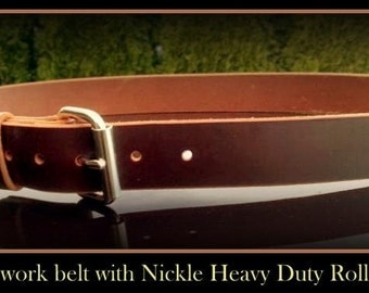 "Real Leather Work Belt, 1 1/2"" wide,heavy duty,long lasting,work belt,hunting,holsters,knives,tuff,strong, handmade, leather,carry tools"