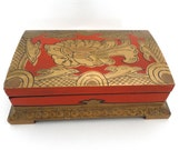 Vintage Box/Wooden Japanese Painted Lacquer Box/Jewelry Box/ Trinket Box/Antique Box/ 1950s Hand Painted Gold and Red Box/Retro Dresser Box