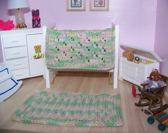 Dollhouse Miniature Hand Knit Pink, Green, Yellow Eyelet Afghan Blanket